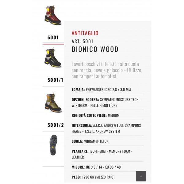 ANDREW BIONICO WOOD art. 5001 scarpone ANTITAGLIO CL. 3 uomo VERDE con fodera SIMPATEX