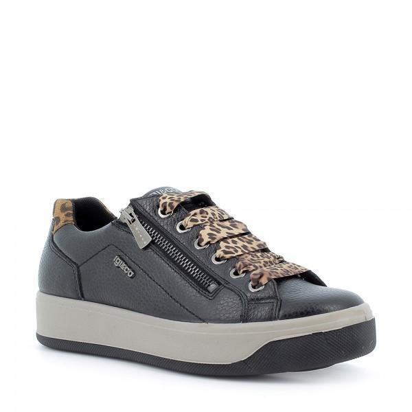 IGI&CO 6162600 scarpa donna Sneaker in pelle nera con riporti leopardati