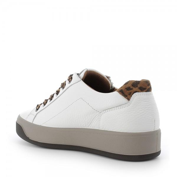 IGI&CO 6162611 scarpa donna Sneaker in pelle BIANCO con riporti leopardati